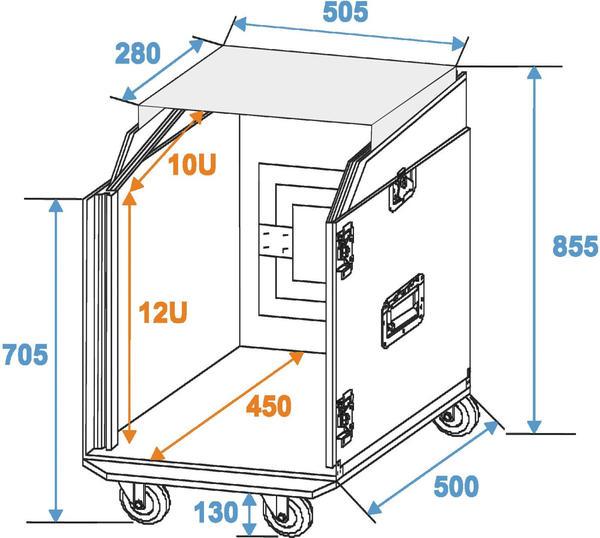 Roadinger Spezial-Kombi-Case Profi 12 HE Laptop Rack