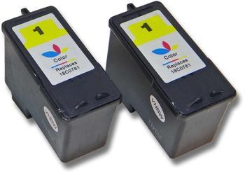 vhbw 2x Druckerpatronen Tintenpatronen Set für Lexmark X3480, Z730, Z735 wie Lexmark 1, 18C0781E, 18CX781E.