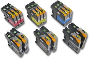 vhbw 15x Druckerpatronen Tintenpatronen Set mit Chip für Brother DCP-J4110DW, DCP-J4110W wie LC125, LC127, LC127BK, LC125C, LC125M, LC125Y.