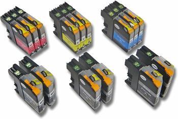 vhbw 15x Druckerpatronen Tintenpatronen Set mit Chip für Brother MFC-J4410DW, MFC-J4510DW wie LC125, LC127, LC127BK, LC125C, LC125M, LC125Y.
