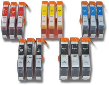 vhbw 15x Druckerpatronen Tintenpatronen Set für HP Hewlett Packard Photosmart 5510, 5514, 5515, 651
