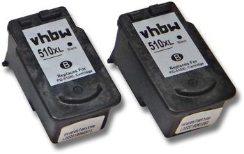 vhbw 2x Druckerpatronen Tintenpatronen Set für Canon Pixma MX410, MX420, MP252, MP272 wie Canon PG-510, PG-510XL.