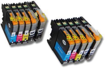 vhbw 10x Druckerpatronen Tintenpatronen Set für Brother DCP-Serie, MFC-J-Serie wie LC223, LC223BK,