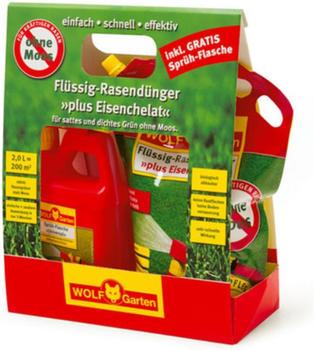 Wolf-Garten Flüssig-Rasendünger plus Eisen LM 200 R 2 Liter (Sprühflasche + Nachfüllpack)