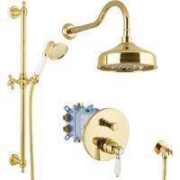 PaulGurkes Duscharmatur PGSETDU4-ZR PaulGurkes Regendusche Set Unterputz Gold Duschsystem Luxus Dusche Komplett
