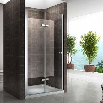 i-flair Klarglas Einzelfalttür Falttür Duschwand Nischentür Duschabtrennung Echtglas