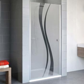 Schulte Alexa Style 2.0 90 cm, 192 cm, 5 mm Sicherheitsglas Dekor Liane beschichtet, alu-natur