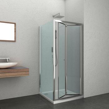 Sanotechnik Falttür »Elite«, silber, mit Antikalk-Versiegelung, beidseitig montierbar, Sanotechnik