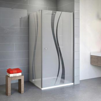 Schulte ExpressPlus Alexa Style 2.0 Drehtür mit Seitenwand 80 x 80 x 192 cm Alu/Glasdekor Liane