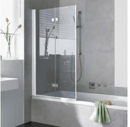 Kermi Diga 100x151,7cm Faltwand 2-flügelig Klarglas hell Weiß (DI2PL100152AK)