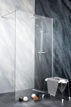Sanotechnik Walk-in-Dusche Freedom II, Einscheibensicherheitsglas silberfarben