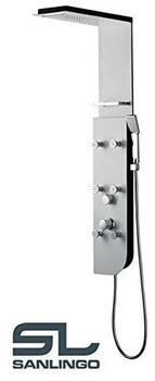 Sanlingo Aluminium Duschpaneel Duschsäule Regendusche Massage Wasserfall Weiss Weiß Sanlingo