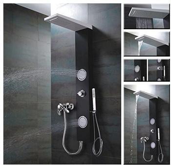 sanlingo-schwarz-weisses-alu-duschpaneel-fuer-brauseanschluss-wasserfall-massage-und-regendusche-von-sanlingo