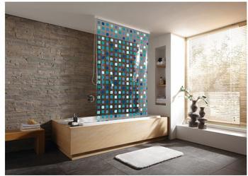 Kleine Wolke Mosaik Duschrollo 134x200cm blau