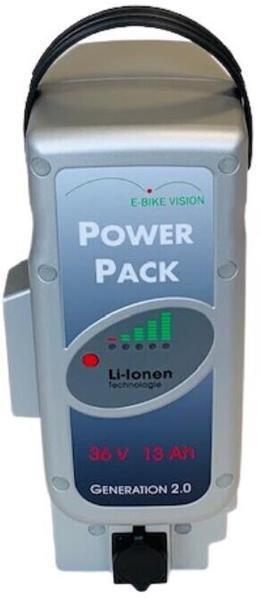E-Bike-Vision SET E-Bike Vision Power Pack Ersatzakku für Panasonic Antrieb 36V 13Ah 468 Wh 4A Lader