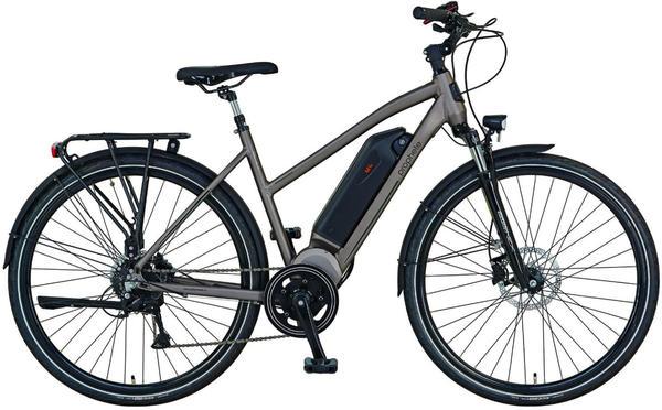 prophete e bike trekking entdecker e9 7 28 zoll 8 gang mittelmotor 374 4 wh grau test. Black Bedroom Furniture Sets. Home Design Ideas
