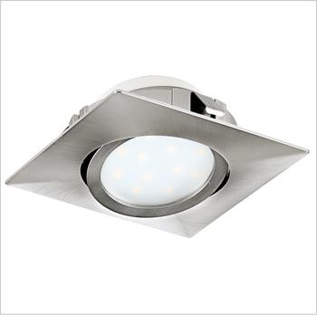 EGLO PINEDA LED Einbauspot 84x84, 1-flg., nickel-matt