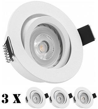 Ledando 3er LED Einbaustrahler Set Weiß matt mit LED GU10 Markenstrahler von Ledando - 7W - warmweiss - 30