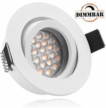 Ledando LED Einbaustrahler Set Weiß matt mit LED GU10 Markenstrahler von Ledando - 5W DIMMBAR - warmweiss -