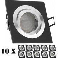 Ledando 10er LED Einbaustrahler Set Bicolor (chromschwarz) mit LED GU10 Markenstrahler von Ledando - 3,5W