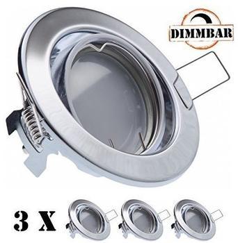 Ledando 3er LED Einbaustrahler Set Chrom mit LED GU10 Markenstrahler von Ledando - 5W DIMMBAR - warmweiss -