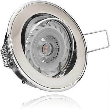 Ledando LED Einbaustrahler Set Bicolor (chromgebürstet) mit LED GU10 Markenstrahler von Ledando - 7W - Deckenspots