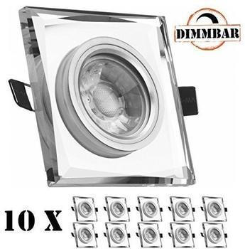 Ledando 10er LED Einbaustrahler Set Weiß Kristall mit COB LED GU10 Markenstrahler von Ledando - 5W DIMMBAR -