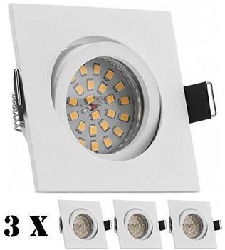 Ledando 3er LED Einbaustrahler Set Weiß matt mit LED GU10 Markenstrahler von Ledando - 4,5W - warmweiss - Deckspot