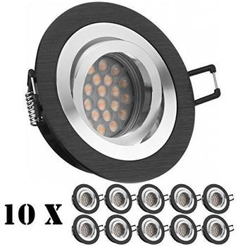 Ledando 10er LED Einbaustrahler Set Bicolor (chromschwarz) mit LED GU10 Markenstrahler von Ledando - 5W -
