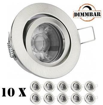 Ledando 10er LED Einbaustrahler Set Silber gebürstet mit COB LED GU10 Markenstrahler von Ledando - 5W DIMMBAR - Decken
