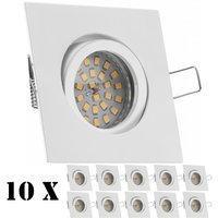 Ledando 10er LED Einbaustrahler Set Weiß mit LED GU10 Markenstrahler von Ledando - 4,5W - warmweiss - 120 A+