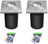 etc-shop 2er Set RGB LED Bodeneinbauleuchte mit Klick-Technologie