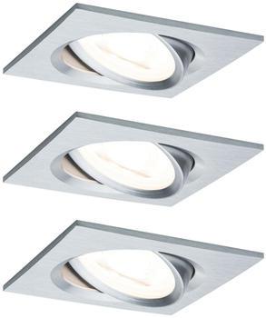 Paulmann LED Nova eckig Set 3x6,5W Stufendimmer Aluminium gedreht (934.92)