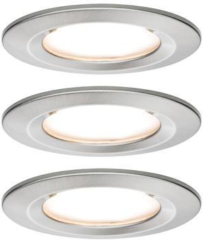 Paulmann LED Nova rund Set 3x6,5W 2700K warmweiß Stufendimmer Eisen gebürstet (934.94)