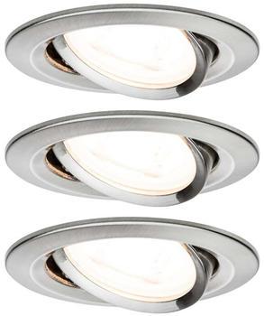 Paulmann LED Nova rund Set 3x6,5W GU10 Stufendimmer 2700K warmweiß Eisen gebürstet (934.65)