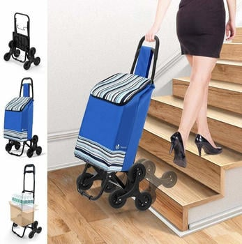 Vounot Stair Climber Foldable Shopping Trolley Blue