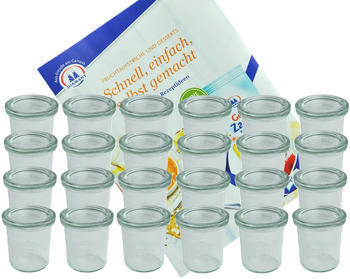 MamboCat 24er Set Weck Gläser 140 ml Sturzgläser mit 24 Glasdeckeln incl. Diamant Gelierzauber Rezeptheft