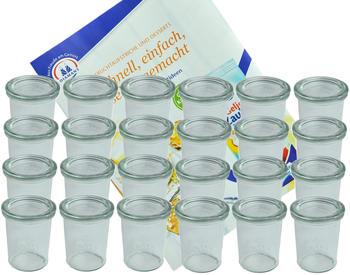 MamboCat 24er Set Weck Gläser 160 ml Sturzgläser mit 24 Glasdeckeln incl. Diamant Gelierzauber Rezeptheft