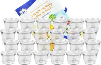 MamboCat 24er Set Weck Gläser 80ml Sturzgläser mit 24 Glasdeckeln inkl. Diamant Gelierzauber Rezeptheft