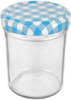 MamboCat 25er Set Sturzglas 230 ml HOCH To 66 blau karierter Deckel incl. Diamant Gelierzauber Rezeptheft