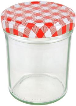 MamboCat 25er Set Sturzglas 230 ml HOCH To 66 rot karierter Deckel incl. Diamant Gelierzauber Rezeptheft