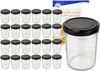 MamboCat 25er Set Sturzglas 230 ml HOCH To 66 schwarzer Deckel incl. Diamant Gelierzauber Rezeptheft