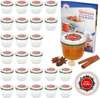 MamboCat 25er Set Sturzglas 230 ml To 82 Merry Christmas Deckel incl. Diamant Gelierzauber Rezeptheft