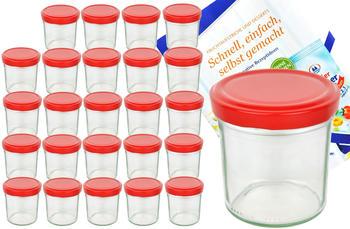 MamboCat 25er Set Sturzglas 350 ml To 82 roter Deckel Einmachgläser Einweckgläser incl. Diamant Rezeptheft