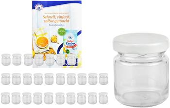 MamboCat 28er Set Sturzglas 53 ml To 43 weißer Deckel Marmeladengläser Einmachgläser incl. Rezeptheft