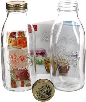 MamboCat 2er Set Einmachglas Original Quattro Stagioni 1,0L Flasche Milchflasche incl. Bormioli Rezeptheft