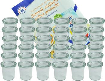 MamboCat 36er Set Weck Gläser 140 ml Sturzgläser mit 36 Glasdeckeln incl. Diamant Gelierzauber Rezeptheft