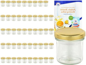 MamboCat 50er Set Sturzglas 167 ml To 66 goldener Deckel Marmeladengläser Einkochgläser incl. Rezeptheft