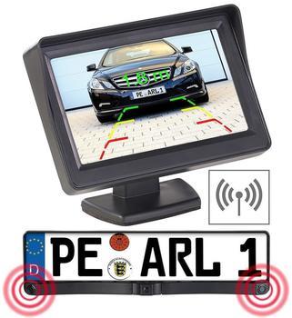 Lescars Funk-Rückfahrkamera in Nummernschildhalter m Monitor & Abstandswarner