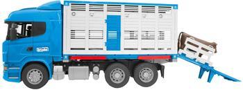Bruder Scania R-Serie Tiertransport–LKW mit 1 Rind